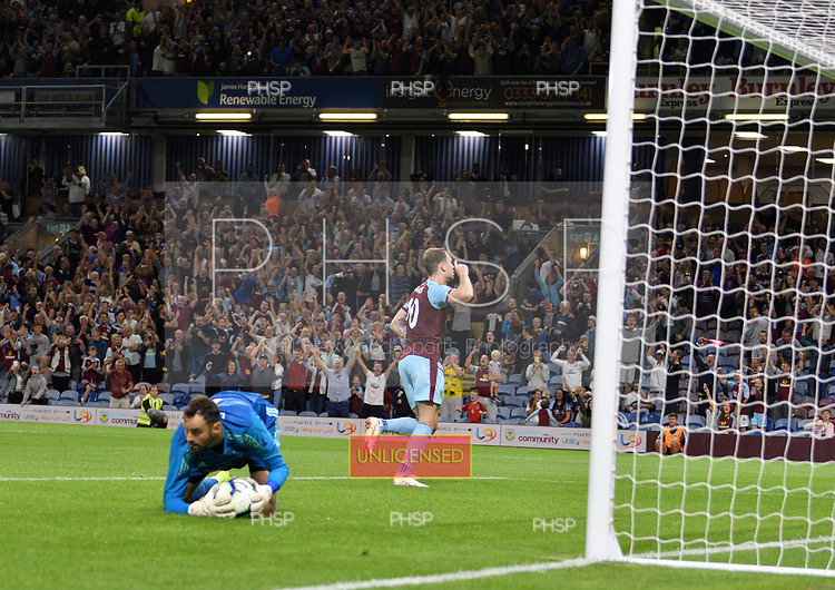 02/08/2018 Europa League Second Qualifying Round 2nd leg Burnley v Aberdeen<br /> <br /> Ashley Barnes celebrates after scoring from the penalty spot in extra time