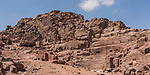 The theater and tombs in the ruins of the Nabataean city of Petra in the Petra Archeological Park in the Hashemite Kingdom of Jordan.  A UNESCO World Heritage Site.