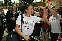 SAN ANTONIO, TX - APRIL 4:  Rosalyn Gold-Onwude at a rally before Stanford's 73-66 win over Oklahoma in the Final Four semi-finals at the Alamo Dome on April 4, 2010 in San Antonio, Texas.