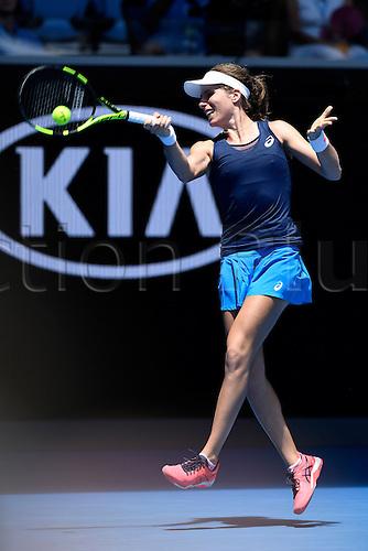 January 16th 2017, Melbourne Park, Melbourne, Australia; Australian Open grand slam tennis tournament Johanna Konta (GBR) in action against Kirsten Flipkens (BEL) during round 1