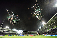 Picture by Allan McKenzie/SWpix.com - 09/03/2018 - Rugby League - Betfred Super League - Warrington Wolves v St Helens - Halliwell Jones Stadium, Warrington, England - Fireworks meet the players as they walk out.