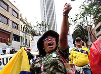 BOGOTA -COLOMBIA , 18- MARZO-2016.  Marcha en apoyo al paro nacional./  the march in support of the national strikePhoto: VizzorImage / Felipe Caicedo / Staff