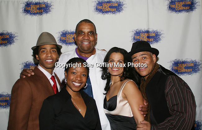Cast of HOME - Kevin T. Carroll - Tracey Bonner & January LaVoy and playwright Samm-Art Williams and director of the play Ron OJ Parson pose on opening night of the play HOME for Signature Theatre Company on December 7, 2008 at the after party at 44 1/2, New York, New York. (Photo by Sue Coflin/Max Photo)