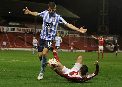01.03.2016. Oakwell Stadium, Barnsley, England. Skybet League One. Coventrys Jack Stephens pushes Barnsleys Josh Scowen over