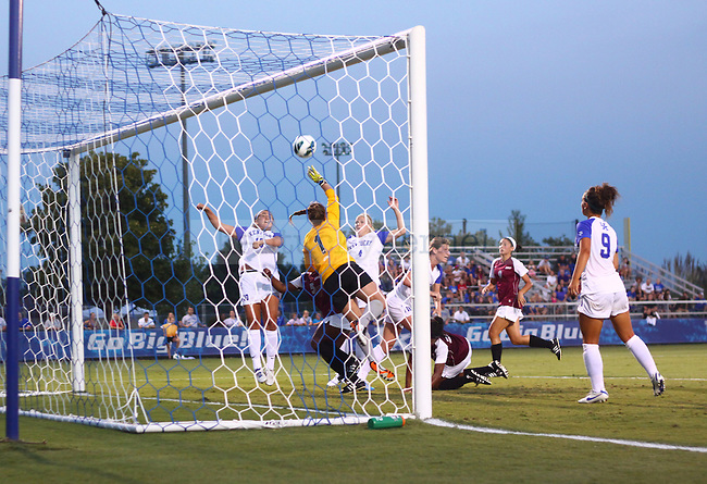 The UK Women's Soccer sophomore Molly Huber (10) attempts a header off from a pass inside that narrowly misses the net against Eastern Kentucky Colonels at UK Soccer Complex on Friday, Aug. 24, 2012. Photo by Scott Hannigan | Staff