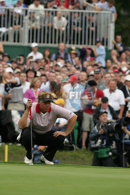 September 24th, 2006. European Ryder Cup team player Darren Clarke on the 16th green during the singles final session of the last day of the 2006 Ryder Cup at the K Club in Straffan,. County Kildare in the Republic of Ireland...Photo: Fran Caffrey/ Newsfile.