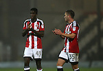 Joe Cummings of Sheffield Utd  and Graham Kelly of Sheffield Utd during the Checkatrade Trophy match at Blundell Park Stadium, Grimsby. Picture date: November 9th, 2016. Pic Simon Bellis/Sportimage