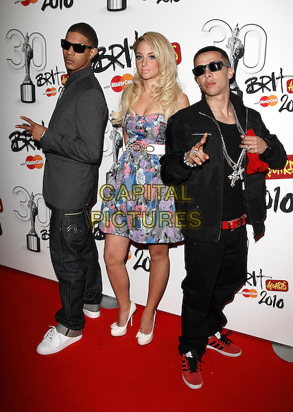 "N-DUBZ - Richard Rawson, Tula Contostavlos & Dino ""Dappy"" Contostavlos .Brit Awards Nominations at Indigo O2, London, England, UK,.January 18th 2010..brits N Dubz full length strapless blue pink floral print dress white shoes sunglasses red black jeans trainers waist belt necklaces bling band group .CAP/ROS.©Steve Ross/Capital Pictures"