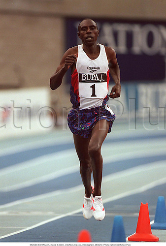 MOSES KIPATANUI, men's 3,000m, Interflora Classic, Birmingham, 960210. Photo: Glyn Kirk/Action Plus...Athletics.1996.man.track and field.male