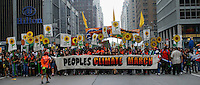 New York City, NY. 21 September 2014. Demonstrators attend the People's Climate March, making it the largest climate march in history. Photo by Kena Betancur/VIEWpress