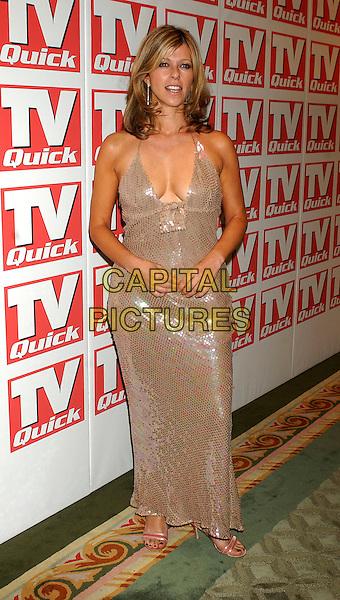 KATE GARRAWAY.TV Quick Awards 2004, Dorchester Hotel, London, .10th September 2004.full length garaway silver gold sequined sparkly dress tight clingy cleavage.Ref: BEL.www.capitalpictures.com.sales@capitalpictures.com.©Tom Belcher/Capital Pictures .