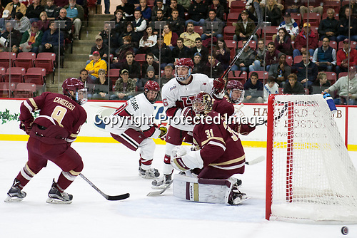 Austin Cangelosi (BC - 9), Lewis Zerter-Gossage (Harvard - 77), Ryan Donato (Harvard - 16), Joe Woll (BC - 31), Connor Moore (BC - 7) - The Harvard University Crimson defeated the visiting Boston College Eagles 5-2 on Friday, November 18, 2016, at Bright-Landry Hockey Center in Boston, Massachusetts.{headline] - The Harvard University Crimson defeated the visiting Boston College Eagles 5-2 on Friday, November 18, 2016, at Bright-Landry Hockey Center in Boston, Massachusetts.