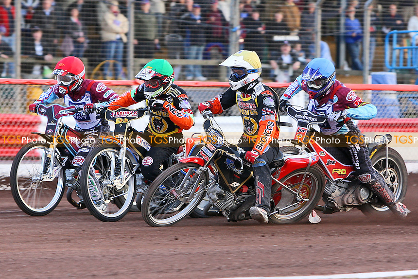 Heat 4: Peter Karlsson (green), Ty Proctor (yellow), Stuart Robson (blue) and Joonas Kylmakorpi - Sky Sports Elite League Speedway at Arena Essex Raceway, Purfleet, Essex - 24/06/09- MANDATORY CREDIT: Gavin Ellis/TGSPHOTO - Self billing applies where appropriate - 0845 094 6026 - contact@tgsphoto.co.uk - NO UNPAID USE.