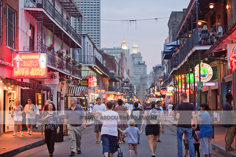 Bourbon Street in New Orleans, Louisiana's French Quarter is home to the city's bars and nightclubs.