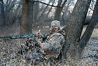 Web Editor for Ducks Unlimited Chris Jennings calls for wild turkey during a hunt near Superior, Nebraska, Friday, December 2, 2011. ..Photo by Matt Nager