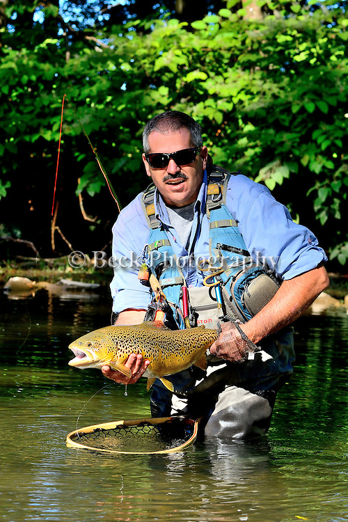 Brown trout, angler Brad Berlin