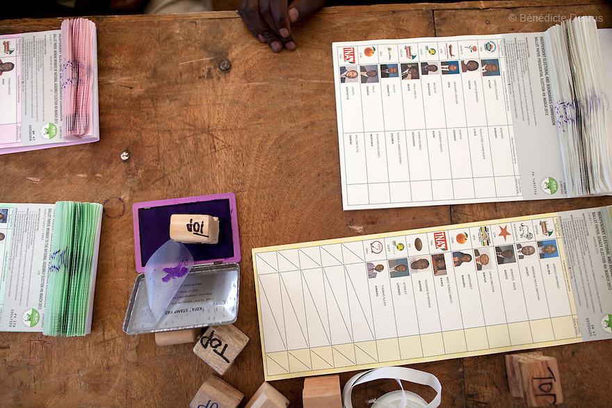 4 March 2013 - Nairobi, Kenya - Ballots at a polling station in Nairobi. Five years after more than 1,000 people were killed in election-related violence, Kenyans began casting votes in a nationwide election seen as the country's most important, and complicated, in its 50-year history. Uhuru Kenyatta, one of two top candidates for president, faces charges at the International Criminal Court for orchestrating the 2007-08 postelection violence. Photo credit: Benedicte Desrus