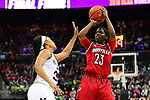 COLUMBUS, OH - MARCH 30: Jazmine Jones #23 of the Louisville Cardinals shoots over Victoria Vivians #35 of the Mississippi State Bulldogs during a semifinal game of the 2018 NCAA Division I Women's Basketball Final Four at Nationwide Arena in Columbus, Ohio. (Photo by Ben Solomon/NCAA Photos via Getty Images)