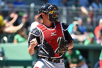 Atlanta Braves catcher Braeden Schlehuber (82) during a Spring Training game against the Boston Red Sox on March 17, 2015 at JetBlue Park at Fenway South in Fort Myers, Florida.  Atlanta defeated Boston 11-3.  (Mike Janes/Four Seam Images)