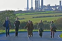 Pictured: The climate protesters are leaving after having blocked access to the Valero refinery in Pembroke Dock, Wales, UK. Thursday 19 September 2019<br /> Re: Ten Extinction Rebellion climate change protesters have blocked three entrances of the Valero site in Pembroke Dock, Pembrokeshire, one of the biggest oil refineries in Europe.<br /> Protesters have attached themselves to wooden boxes filled with concrete in a bit to stop vehicles from entering or leaving the site.