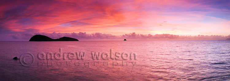 View of Double Island and the Coral Sea at sunrise.  Palm Cove, Cairns, Queensland, AUSTRALIA