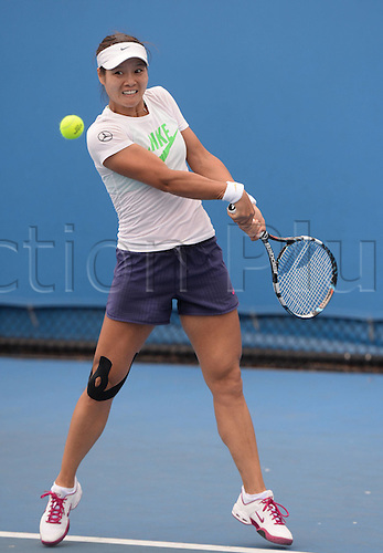 12.01.2014. Sydney, Australia. Australian Open Tennis Championships. World Tour, Grand Slam, Australian Open Li Na of China plays a shot during a practice session ahead of the Australian Open tennis championship in Melbourne, Australia,