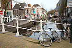Bridge over canal with bicycles, Delft, Netherlands