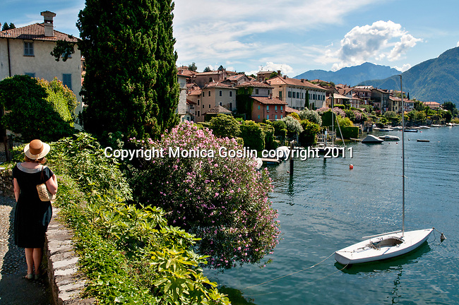 A view of Sala Comacina, a town on Lake Como, Italy