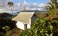Guesthouse in Temetiu village, looking over Atuona Bay, on the island of Hiva Oa, in the Marquesas Islands, French Polynesia. Picture by Manuel Cohen