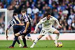 Isco Alarcon of Real Madrid (R) vies for the ball with Antonio Jesus Regal Anguilo (C) and Miguel Alfonso Herrero Javaloyas, Michel, of Real Valladolid during the La Liga 2018-19 match between Real Madrid and Real Valladolid at Estadio Santiago Bernabeu on November 03 2018 in Madrid, Spain. Photo by Diego Souto / Power Sport Images