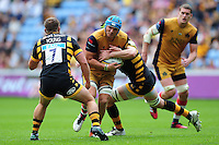 Olly Robinson of Bristol Rugby takes on the Wasps defence. Aviva Premiership match, between Wasps and Bristol Rugby on September 18, 2016 at the Ricoh Arena in Coventry, England. Photo by: Patrick Khachfe / JMP