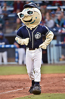 Asheville Tourists mascot Mr. Moon #11 during a game against the  Greenville Drive at McCormick Field on May 17, 2014 in Asheville, North Carolina. The Tourists defeated the Drive 14-6. (Tony Farlow/Four Seam Images)