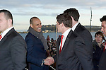 BBC TV presenter Jason Mohammed meeting the Welsh rugby team as they celebrated winning the Grand Slam in the Six Nations rugby tournament at The Senydd in Cardiff Bay..