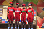 Mexican team at sign on for the start of the Women Elite Road Race of the UCI World Championships 2019 running 149.4km from Bradford to Harrogate, England. 28th September 2019.<br /> Picture: Eoin Clarke | Cyclefile<br /> <br /> All photos usage must carry mandatory copyright credit (© Cyclefile | Eoin Clarke)