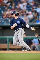 Mobile BayBears second baseman Connor Justus (18) follows through on a swing during a game against the Jacksonville Jumbo Shrimp on April 14, 2018 at Baseball Grounds of Jacksonville in Jacksonville, Florida.  Mobile defeated Jacksonville 13-3.  (Mike Janes/Four Seam Images)