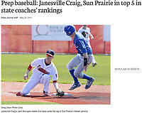 Janesville Craig's Jack Blomgren steels 2nd base under the tag of Sun Prairie's Walker Jenkins on Saturday at Sun Prairie High School in Wisconsin | Wisconsin State Journal article on-line at http://host.madison.com/wsj/sports/high-school/baseball/prep-baseball-janesville-craig-sun-prairie-in-top-in-state/article_7544ecfe-0f9a-51dc-9601-6a1533819ba4.html