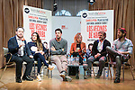 "The left to the right, Candela Peña, the director Cesc Gay, Pilar Castro, Xavi Mira and Andrew Tarbet during presentation of the theater play of Cesc Gay, ""Los Vecinos de Arriba""  in Madrid . March 31, 2016. (ALTERPHOTOS/Borja B.Hojas)"