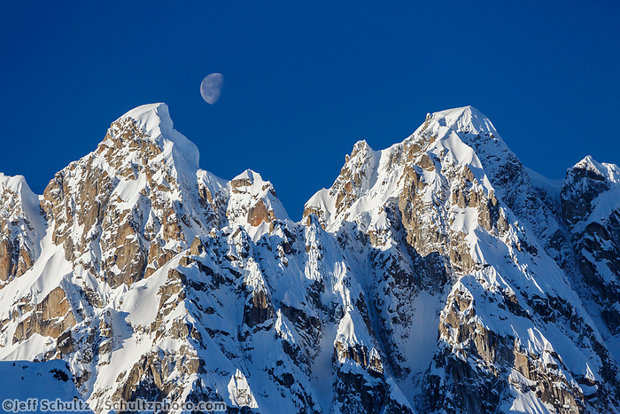 The moon rises over the snow-capped Rooster's Comb in the Ruth  Amphitheater in the Alaska Range.  Winter <br /> <br /> Photo by Jeff Schultz/SchultzPhoto.com  (C) 2017  ALL RIGHTS RESERVED