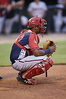Hagerstown Suns catcher Israel Pineda (20) on defense against the Kannapolis Intimidators at Kannapolis Intimidators Stadium on August 27, 2019 in Kannapolis, North Carolina. The Intimidators defeated the Suns 5-4. (Brian Westerholt/Four Seam Images)