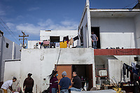 MEXICALI, MEXICO - February 20. A general view of the Alfa y Omega Shelter on February 20, 2019 in Mexicali, Mexico.<br />  A new group of Central American migrants arrived to the city, mostly young men. Some manifest their desire to remain on Mexican soil but for others the idea of crossing the border fence is still attractive.<br /> US President Donald Trump uses emergency powers to secure funding for his proposed US-Mexico border wall. In this case, Trump has claimed there is a migration crisis on the US-Mexico border.<br /> (Photo by Luis Boza/VIEWpress)
