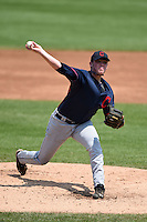 Matthew Frisbee (28) of Enka High School in Candler, North Carolina playing for the Cleveland Indians scout team during the East Coast Pro Showcase on August 2, 2014 at NBT Bank Stadium in Syracuse, New York.  (Mike Janes/Four Seam Images)