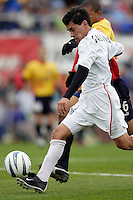 Sergio Galvan Rey shoots the ball  as the MetroStars defeated the Chicago Fire 2-0 during an exhibition game on Monday October 11, 2004 at At-A-Glance Field at the National Soccer Hall of Fame and Museum, Oneonta, NY..