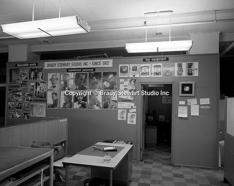 Pittsburgh PA:  Promoting Brady Stewart Studio's capabilities at Ketchum McLeod and Grove office in the Chamber of Commerce Building - 1958.  Ketchum McLeod and Grove/Ketchum Advertising/Ketchum Communications was Brady Stewart Studio's oldest single customer 1945-1991. George Ketchum convinced Brady Stewart to change the studio name from BW Stewart to Brady Stewart Studio in 1946 to take advantage of the Brady name association with Civil War photographer Mathew Brady.