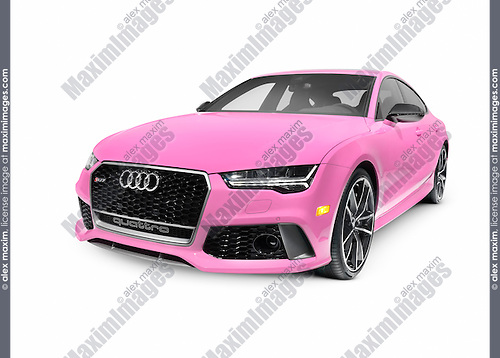 Bright pink 2016 Audi RS 7 Prestige Quattro Sedan luxury car isolated on white background with clipping path