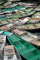 Congregation of many small local Boats at Ninh Binh, Vietnam