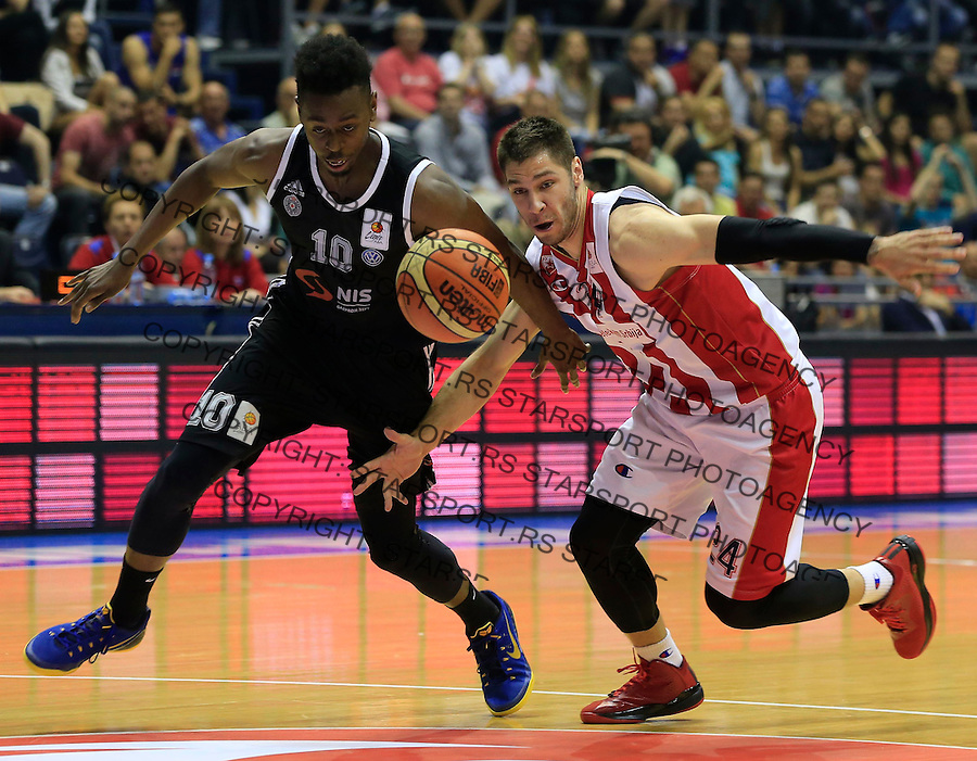 Kosarka Kosarkaska Liga Srbije season 2014-2015<br /> Crvena Zvezda v Partizan<br /> Boris Dallo (L) and Stefan Jovic<br /> Belgrade, 05.17.2015.<br /> foto: Srdjan Stevanovic/Starsportphoto &copy;