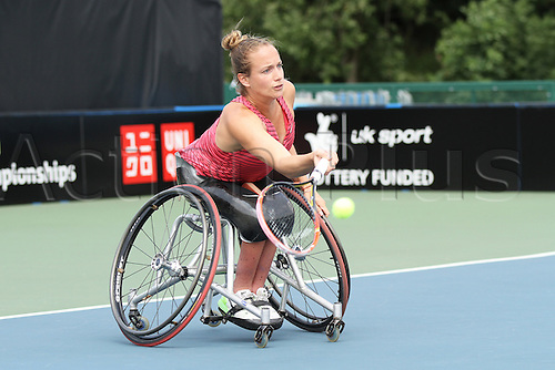 17.07.2015.  Nottingham Tennis Centre, Nottingham, England. British Open Wheelchair Tennis Championships. Forehand from Jiske Griffioen (NED) in her match against Jordanne Whiley (GBR)