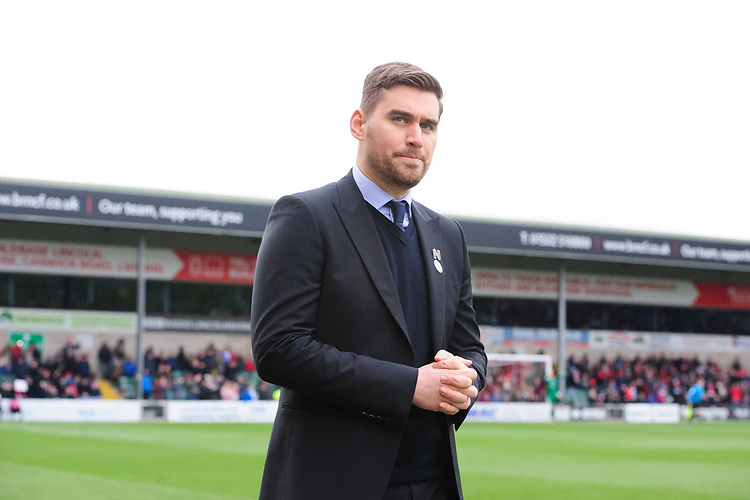 Grimsby Town manager Michael Jolley<br /> <br /> Photographer Chris Vaughan/CameraSport<br /> <br /> The EFL Sky Bet League Two - Lincoln City v Grimsby Town - Saturday 19 January 2019 - Sincil Bank - Lincoln<br /> <br /> World Copyright © 2019 CameraSport. All rights reserved. 43 Linden Ave. Countesthorpe. Leicester. England. LE8 5PG - Tel: +44 (0) 116 277 4147 - admin@camerasport.com - www.camerasport.com