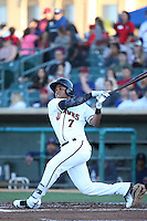 Alejandro Garcia (7) of the Lancaster JetHawks bats against the High Desert Mavericks at The Hanger on April 16, 2016 in Lancaster, California. Lancaster defeated High Desert, 3-2. (Larry Goren/Four Seam Images)