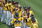 4 JUNE 2016: Millersville University players are introduced during the Division II Men's Baseball Championship between Millersville University and Nova Southeastern University at the USA Baseball National Training Complex in Cary, NC.  Nova Southeastern University defeated Millersville University 8-6 to win the national title. Grant Halverson/NCAA Photos